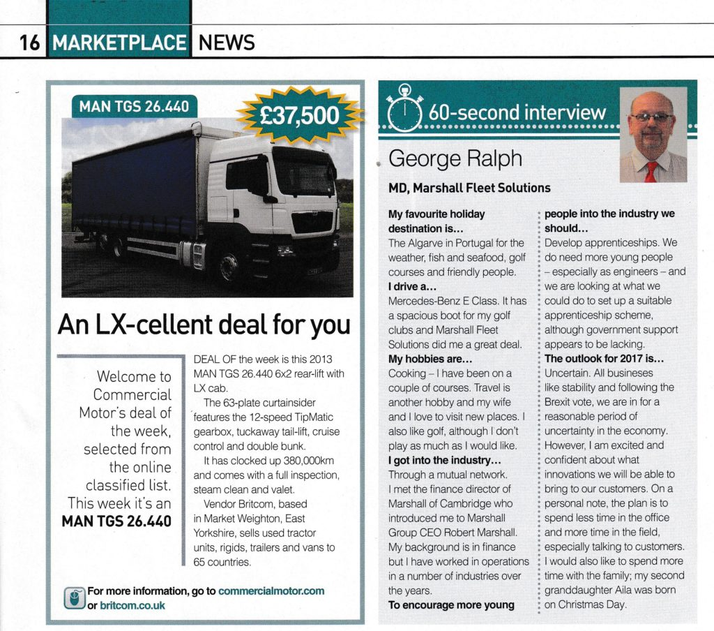 commercial motor s second interview george ralph leading industry publication commercial motor has published its latest 60 second interview this time featuring marshall fleet solutions managing